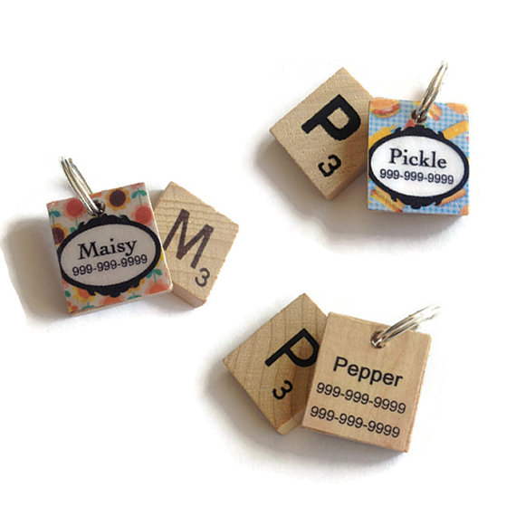 cool dog scrabble tile ID tags