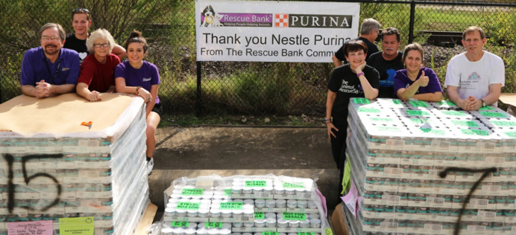 A shelter receiving their Rescue Bank distribution. Special thanks to Purina for this delivery!