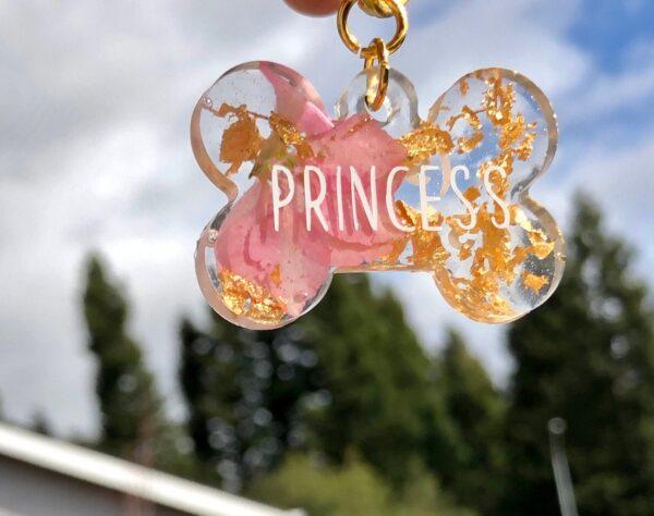 sparkly flower dog tag