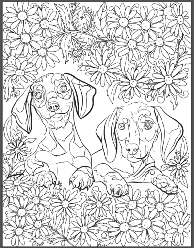 de stress with dogs downloadable 10 page coloring book for adults who love dogs print