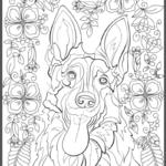 German Shepherd Adult Coloring Book Page