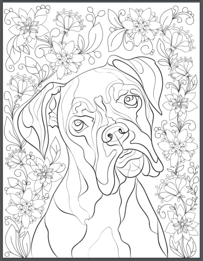 De stress with dogs downloadable 10 page coloring book for Printable boxer dog coloring pages
