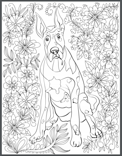 De Stress With Dogs Downloadable 10 Page Coloring Book For Adults Rottweiler  Animal Coloring Pages