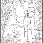 Beagle Adult Coloring Book Page