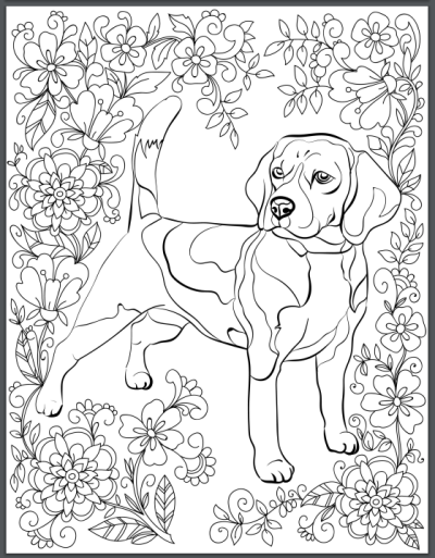 Destress With Dogs Downloadable 10 Page Coloring Book