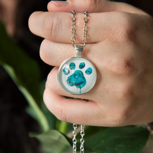 "Limited Edition Blue Watercolor ""Paw Over My Heart"" Necklace: Feeds 10 Shelter Dogs"
