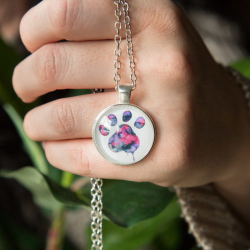 "Limited Edition Pink Watercolor ""Paw Over My Heart"" Necklace: Feeds 10 Shelter Dogs"