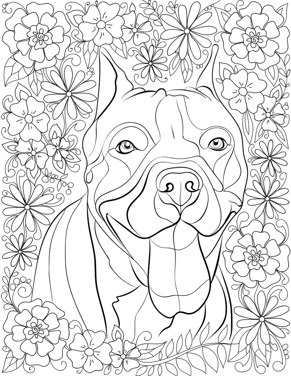 pitbull coloring pages De stress With Pit Bulls: Downloadable 10 Page Coloring Book for  pitbull coloring pages