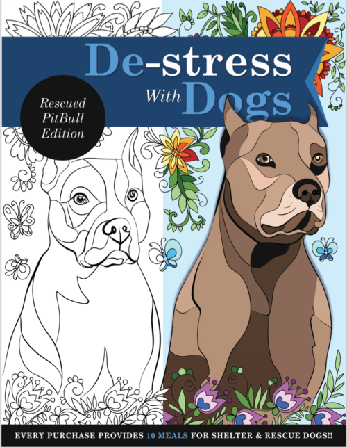 De-stress With Pit Bulls: Downloadable 10 Page Coloring Book for Adults Who Love Dogs – Print Instantly!
