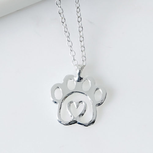 """Heart For Rescue"" Twisted Heart Paw Silver Necklace"
