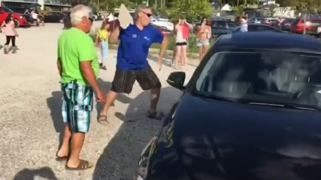 Man Throws Rock At A Car Window To Save A Puppy