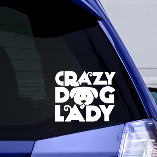 Crazy Dog Lady Vinyl Window Sticker