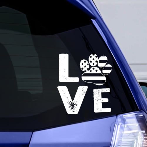 Love Paw USA Vinyl Window Sticker