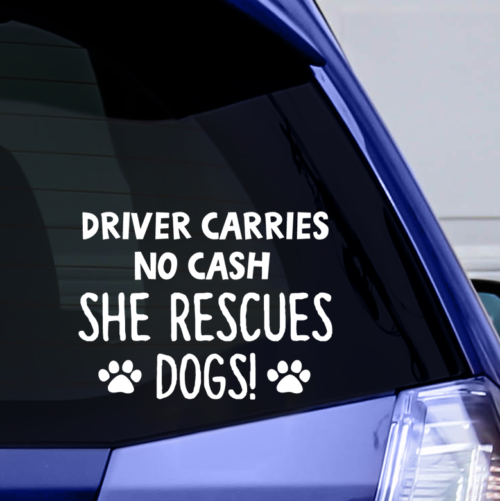 Driver Carries No Cash Vinyl Window Sticker