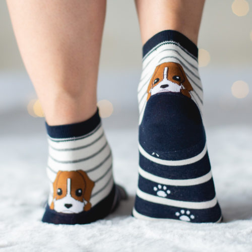 Peekaboo Puppy Navy Striped Socks