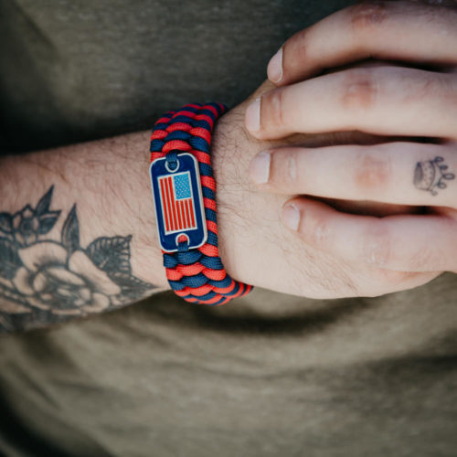 Paracord Survival Flag Bracelet: Helps Pair Veterans with a Service Dog or Shelter Dog