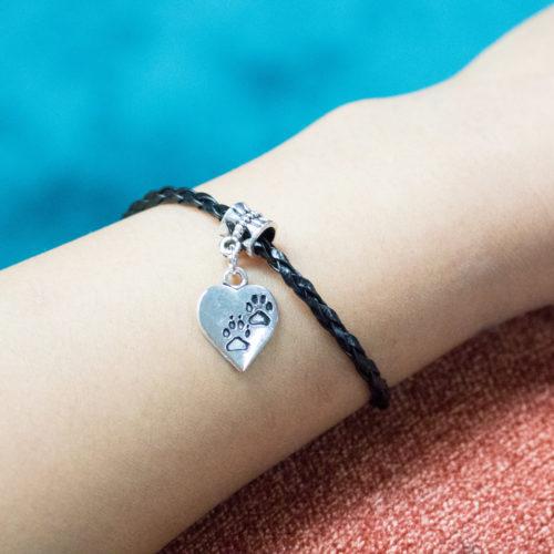 Paw Prints On My Heart Vegan Leather Bracelet
