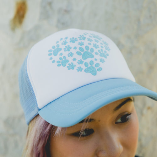 Heart Paw Blue Glitter Trucker Hat