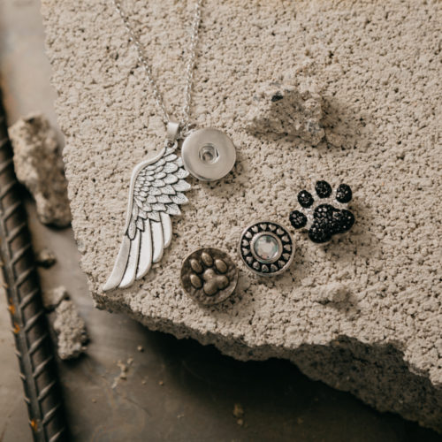 Second Chance Movement ™ Necklace and 3 Snap Buttons Set – The Wings To Give Shelter Pets a Second Chance At Life