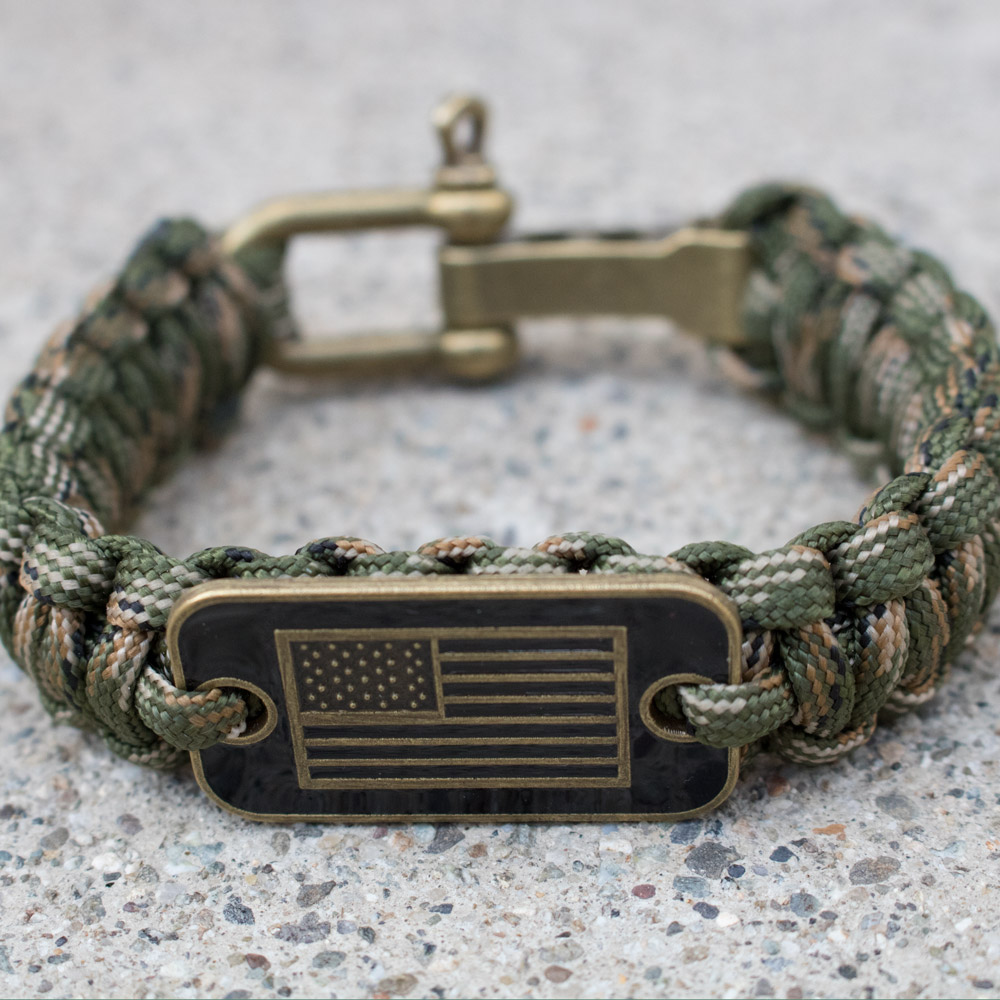 Camo Paracord Bronze Flag Bracelet: Helps Pair Veterans With A Service Dog  Or Shelter Dog