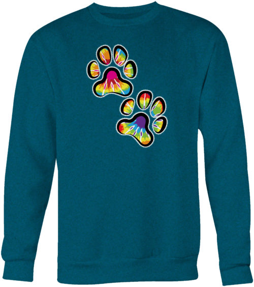 Double Paw Tie Dye Crew Neck Sweatshirt