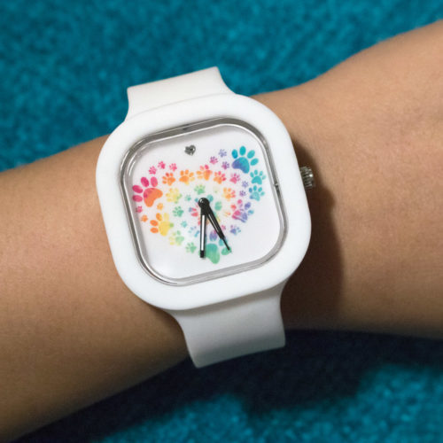 Silicone Watch Heart Paw Tie Dye Design with 3 Color Bands (SECRET STORE)