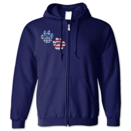 Flag Paws USA Zip Hoodie