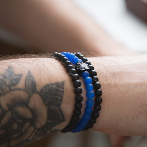 Thin Blue Line 3 Stack Bracelet: Helps Provide Body Armor for K9 Police Dogs