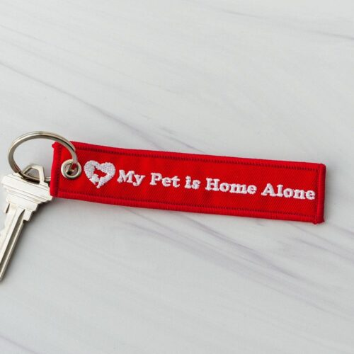 My Pet Is Home Alone Double Sided Embroidered Canvas Keychain