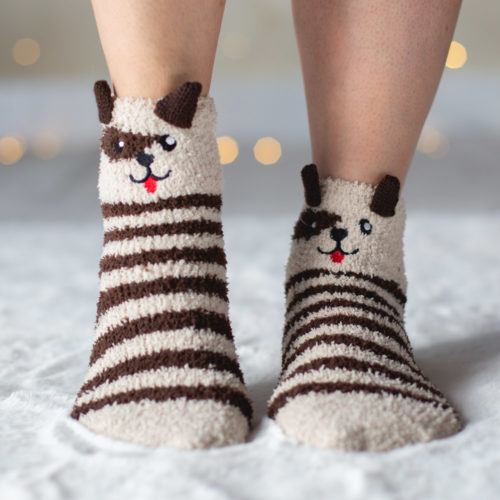 Brown Dog Ears Stripe Fuzzy Socks