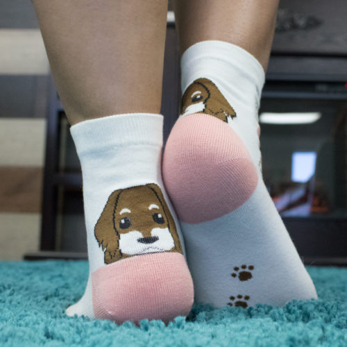 Peekaboo Puppy Brown/ Pink Socks
