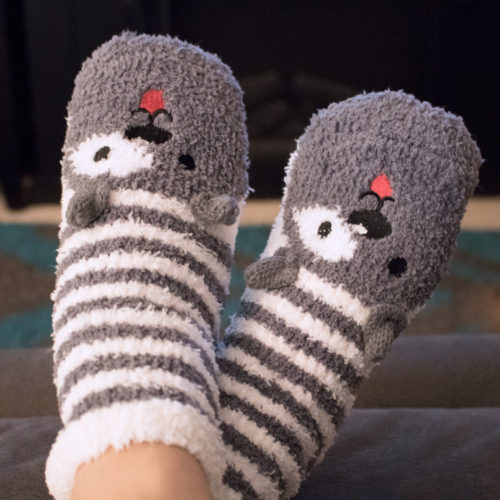 Grey Dog Ears Stripe Fuzzy Socks