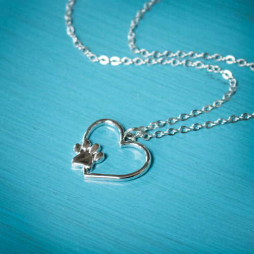Paw Print in My Heart Necklace