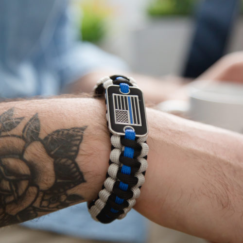 Thin Blue Line Paracord Bracelet: Helps Provide Body Armor for K9 Police Dogs