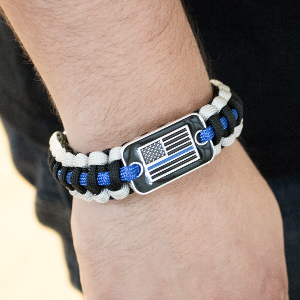 adult blue black line support w wristband law and rubber thin bracelet enforcement police