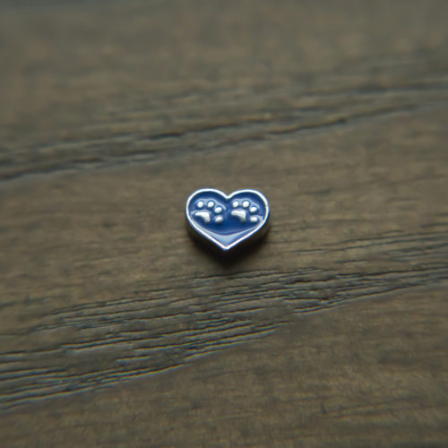 Double Paws Royal Blue Heart Shape Charm for Locket