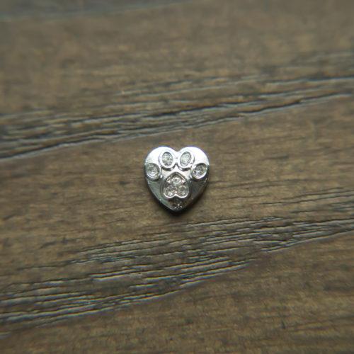 Heart Rhinestone Paw Charm For Locket