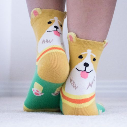 Yellow Corgi Ears Socks