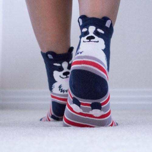 Grey Dog Ears Stripe Fuzzy Socks