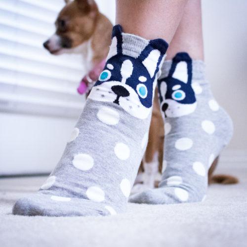 Grey White Polka Dot Dog Socks