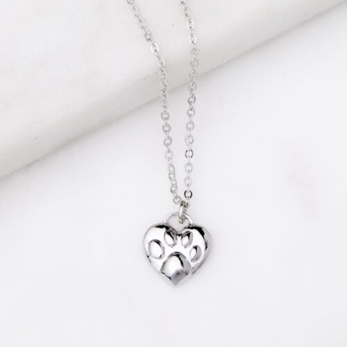 Forever Paw Print On My Heart Necklace