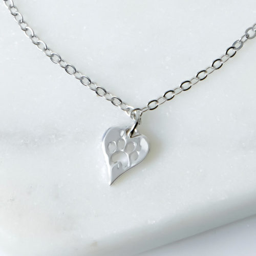 Petite Heart With Cut Out Paw Necklace