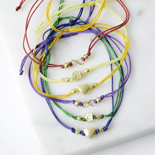 Rainbow Bridge Memorial Stackable Cord Bracelets