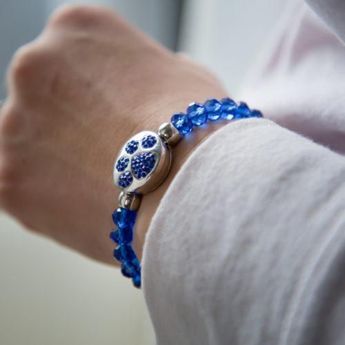 Royal Blue Crystal Bead Snap Bracelet