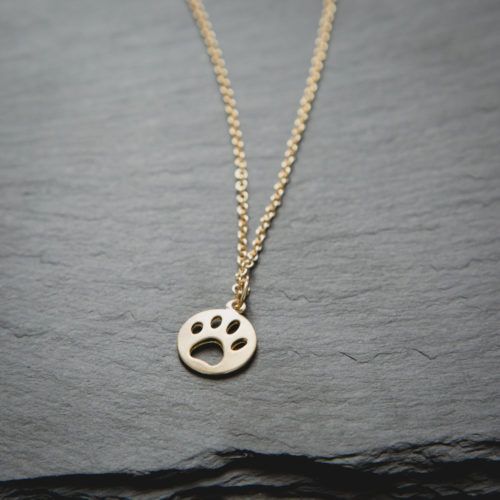 Matte Gold Cut Out Paw Circle Charm Necklace