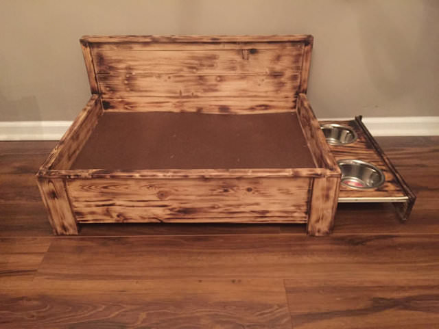 Wooden Bed Frame Is Equipped With A Built In Food And Water Bowl Stand For Your Companion S Convenience You Can Also Get It Customized Dog