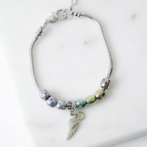 Rainbow Paw Prints Slider Memorial Bracelet With Wing Charm