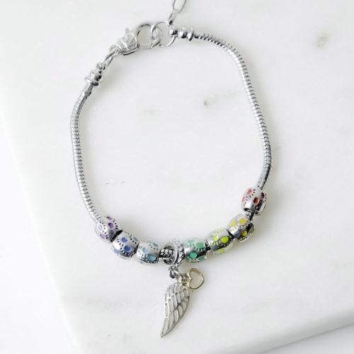 Rainbow Paw Prints Slider Memorial Bracelet With Wing Charm
