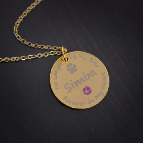 Personalized Pet Memorial Pendant with Swarovski Crystal Birthstone & Name