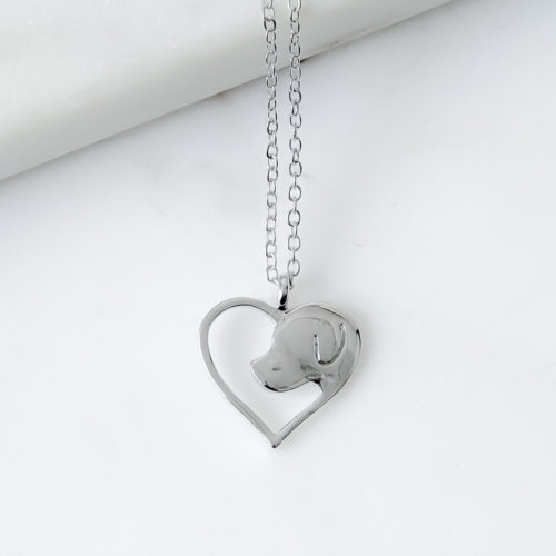 Cutout Heart With Dog Silhouette Necklace